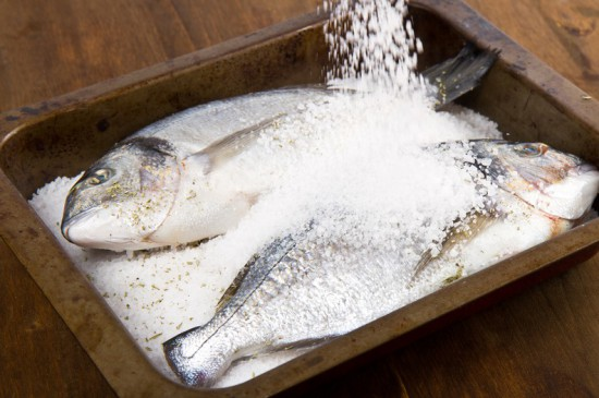 Gilt head sea bream baked in sea salt