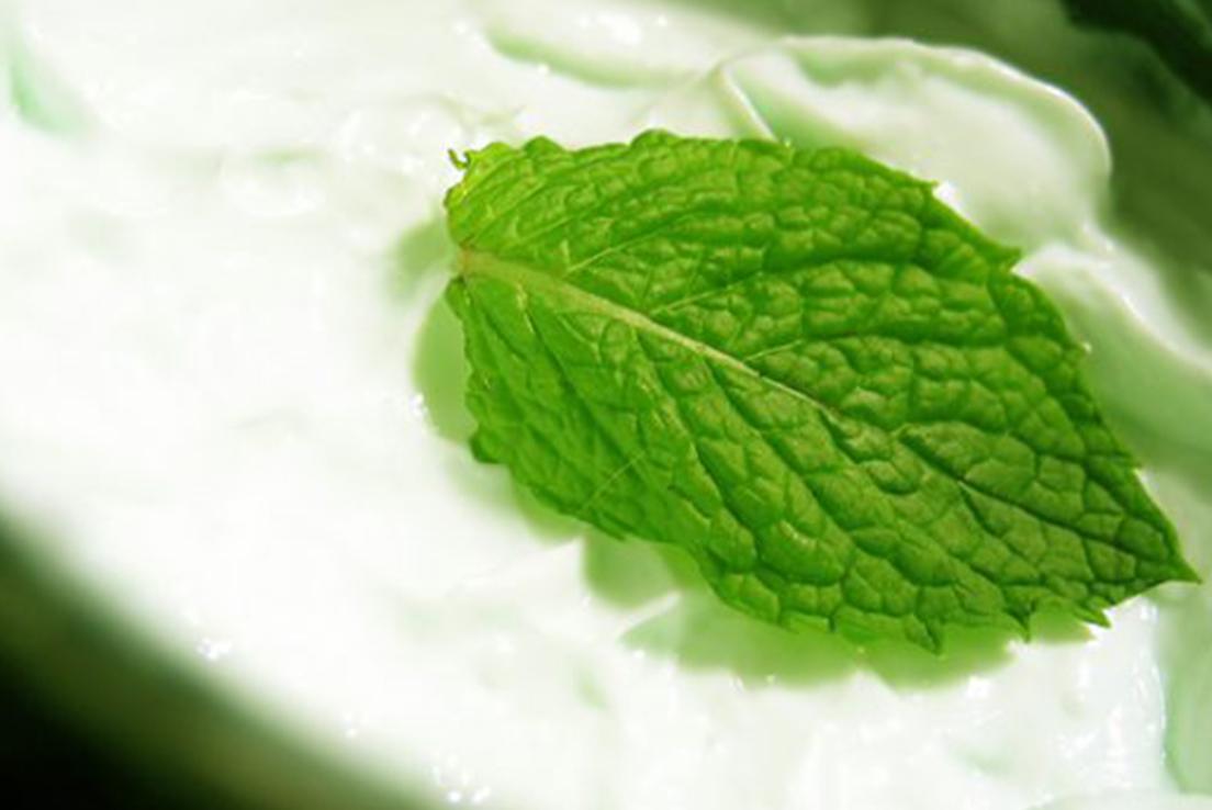fruites i verdures de temporada per fer macedònia amb salsa de iogurt de menta